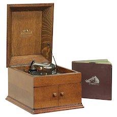 Victor Antique Oak Tabletop Victrola Phonograph Model VV-VIII, Records #29106