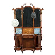 Art Nouveau Antique Hall Stand, Marble, Mirrors, Tiles, #29107