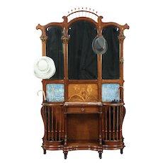 Art Nouveau Antique Hall Stand, Marble, Mirrors, Tiles, #29107