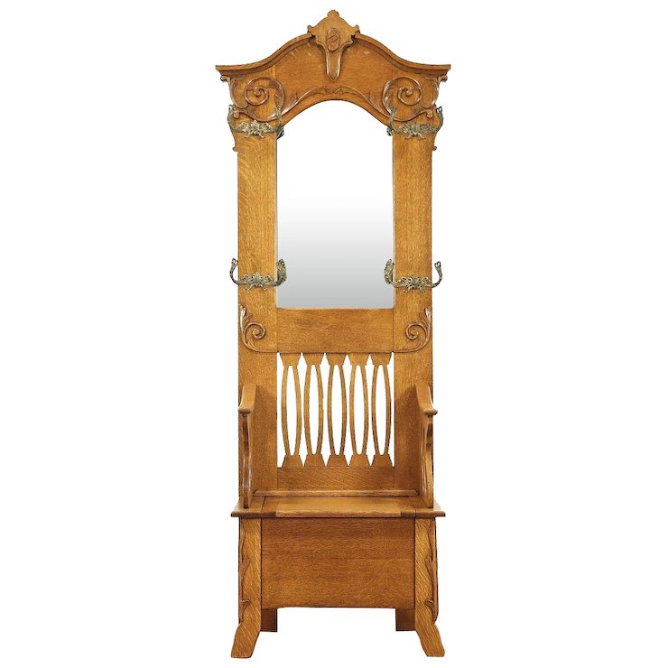 Victorian Antique Oak Hall Stand & Bench with Storage, Beveled Mirror #29108 - Victorian Antique Oak Hall Stand & Bench With Storage, Beveled