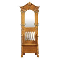Victorian Antique Oak Hall Stand & Bench with Storage, Beveled Mirror #29108