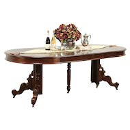 """Victorian Antique Round Walnut Dining Table, 4 Leaves, Extends 7' 5"""" #29110"""
