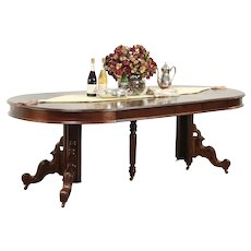 "Victorian Antique Round Walnut Dining Table, 4 Leaves, Extends 7' 5"" #29110"