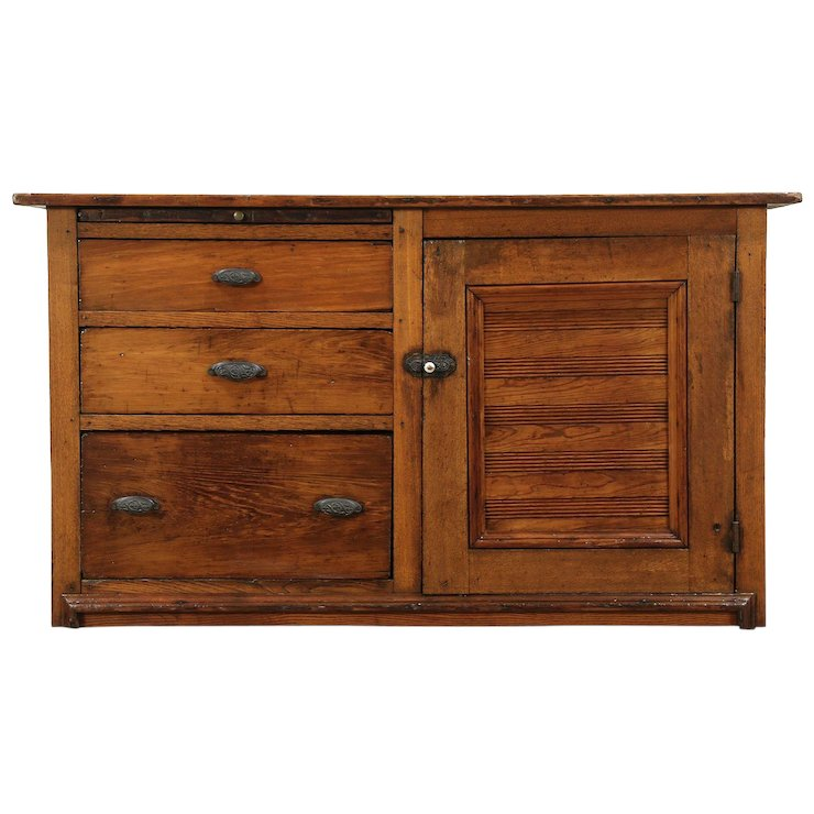 Primitive Pine & Oak Antique Kitchen Pantry Dry Sink Cabinet, Ohio #29118 - Primitive Pine & Oak Antique Kitchen Pantry Dry Sink Cabinet, Ohio