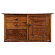 Primitive Pine & Oak Antique Kitchen Pantry Dry Sink Cabinet, Ohio #29118