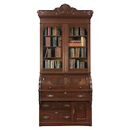 Victorian Eastlake Antique Cylinder Roll Top Secretary Desk & Bookcase #29119