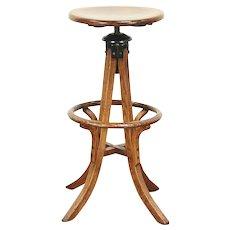 Architect or Drafting Stool, Swivel & Adjustable Oak 1910 Antique #29127
