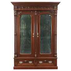 Victorian Eastlake Walnut 1880 Armoire, Wardrobe Or Closet With Mirrors  #29131. Harp Gallery Antique Furniture