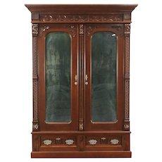 Victorian Eastlake Walnut 1880 Armoire, Wardrobe or Closet With Mirrors #29131