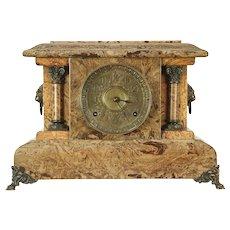 Seth Thomas Antique 1880's Mantel Clock, Marbleized Bakelite Case #29148