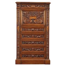 Italian Antique Walnut Library Secretary Desk, Hand Carved Dragons, Lions #29151
