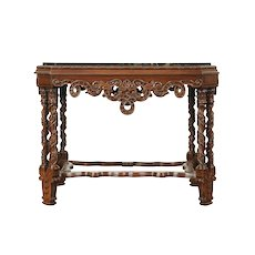 Black Marble Top 1920's Antique Walnut Carved Coffee or Cocktail Table #29155