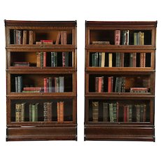 Pair Oak Antique 4 Stack Lawyer Library Bookcases, Globe Wernicke #29156