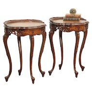 Pair French Style Vintage Nightstands or End Tables, Rosewood Marquetry #29162