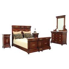 Queen Size Antique 1900 Italian 4 Pc. Mahogany Bedroom Set, Marble Tops #29164
