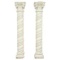 Pair Baroque Antique Stucco Spiral Columns, Antique Architectural Salvage #29165