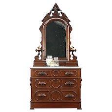 Victorian Antique Chest or Dresser, Marble, Jewel Boxes, Secret Drawer #29166
