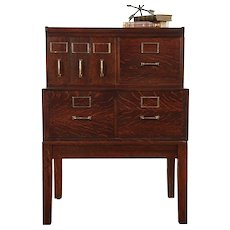 Oak 6 Drawer Antique Stacking Office or Library File Cabinet, Yawman #29170