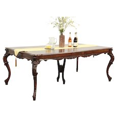 French Style Carved Walnut Vintage Dining Table, 2 Leaves #29176