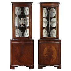 Pair Traditional Mahogany Vintage Corner Cabinets or Cupboards, England #29177