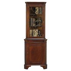 Traditional Mahogany Vintage Corner Cabinet or Cupboard, England #29178