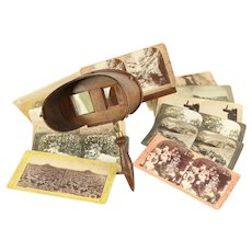 Stereo Antique Stereoscope Curly Maple Viewer, 14 Assorted Photo Cards #29207