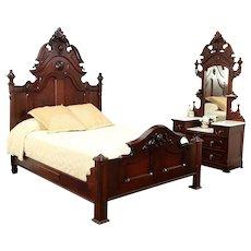 Victorian Antique Queen Size Walnut Bedroom Set, Marble Top Dresser #29212