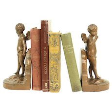 Pair of Antique Copper Angel or Cherub Sculpture Bookends #29217