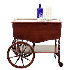 Bar Cart, Vintage Walnut Beverage, Dessert or Tea Trolley & Glass Tray #29226