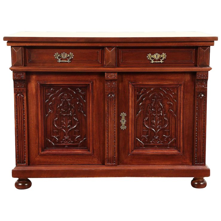 Cherry Antique Sideboard, Server, Hall or TV Console Cabinet #29227 - Cherry Antique Sideboard, Server, Hall Or TV Console Cabinet #29227
