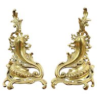 Pair of Brass Antique French Rococo Design Fireplace Andirons #29231