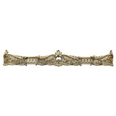 Brass Antique French Rococo Design Fireplace Hearth Fender #29232