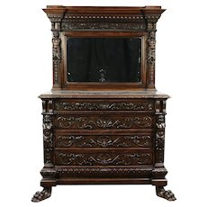 Renaissance Antique Walnut Chest or Dresser, Marble, Carved Paws, Italy #29234