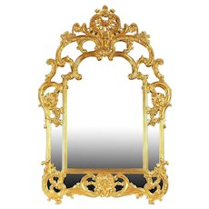 Baroque Style Vintage Gold Mantel or Hall Mirror, Belgium #29235