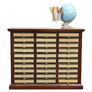 Oak Vintage Craft, Letter or Paper File Organizer, 30 Fitted Drawers #29236
