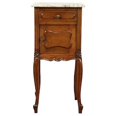 French Carved Oak Antique 1895 Nightstand, Marble Top #29238