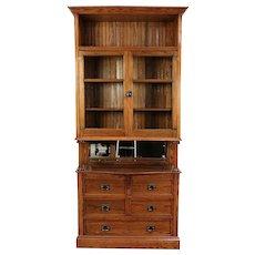 Victorian Oak Antique 1900 China Cabinet U0026 Server, Pantry Cupboard #29243