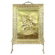 Clipper Ship Hammered Brass Antique Fireplace Hearth Screen #29255