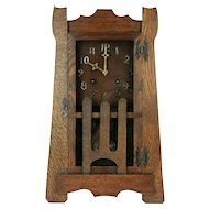 Mantel Mission Oak Arts & Crafts Antique Craftsman Clock, New Haven  #29257