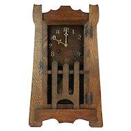 Mantel Mission Oak Arts & Crafts Antique Craftsman Clock, New Haven  #29257