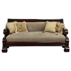 Empire Antique 1900 Flame Mahogany Sofa, Recent Upholstery  #29260