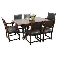 English Tudor Antique Oak Dining Set, Table, 6 Leather Chairs, Altman NY #29265