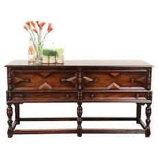English Tudor Antique Carved Oak Sideboard, Server or Buffet, Altman NY #29268
