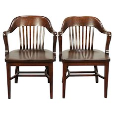 Pair of Antique Quarter Sawn Oak Banker, Office or Library Chairs, Klode  #29269