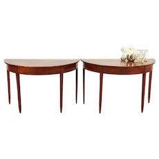 Pair Of Demilune Antique 1910 Mahogany Hepplewhite Hall Console Tables  #29270