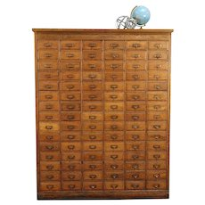 Oak Antique 1900 File, Craft or Collector Cabinet, 90 Drawers #29274