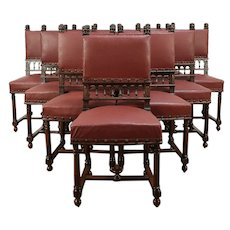 Set of 12 Antique Walnut Dining Chairs, Carved Lion Heads, Italy  #29285