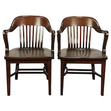 Pair of Antique Quarter Sawn Oak Banker, Office or Library Chairs, Klode #29290