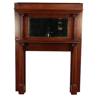 Cherry & Birch Antique Architectural Salvage Fireplace Mantel & Mirror #29294