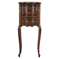 French Style Antique Carved Walnut Small Nightstand, Black Marble #29295